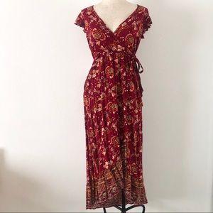 Band of Gypsies wrap around floral maxi dress